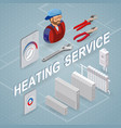 heating service isometric concept worker vector image