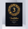 3 years anniversary invitation card template vector image vector image