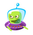 an angry and screaming green alien cute cartoon vector image vector image