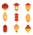 asian cartoon lanterns chinese and chinatown vector image vector image