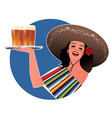 beautiful mexican girl with typical mexican hat vector image vector image