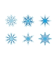 Blue frozen set of snowflakes isolated on white vector image vector image