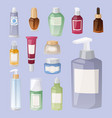 bottles of cosmetic cosmetology lotion makeup vector image vector image