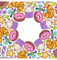 card with various sweets vector image vector image