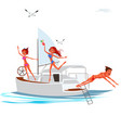 cartoon company having fun on luxury yacht vector image