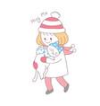 cartoon cute winter girl and cat vector image