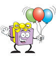 Cartoon Gift Holding Balloons vector image vector image