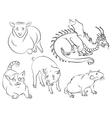 cat dragon pig rat sheep vector image vector image
