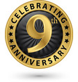 celebrating 9th anniversary gold label vector image