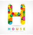 colored h house logo concept vector image
