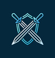 crossed swords with shield concept colored vector image vector image