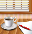Cup of coffee on a wood table vector image vector image