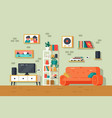 cute and colorful living room interior vector image vector image