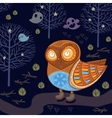 cute cartoon owl in night forest with ghosts vector image