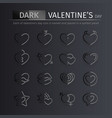 dark gloss valentines day icons set vector image vector image