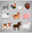 farm animals on transparent background vector image vector image