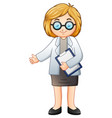 female doctor holding clipboard vector image vector image