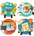 flat concept banners analytics creativity vector image vector image