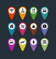 flat travel symbols map pins set vector image vector image