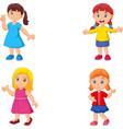 girl cartoon waving hand collection set vector image vector image