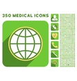 Globe Icon and Medical Longshadow Icon Set vector image vector image