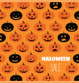 halloween scary pumpkins pattern sale poster vector image vector image