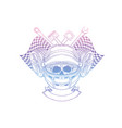 hand drawn sketch racer skull vector image vector image