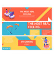 horizontal banners set about gaming and skydiving vector image
