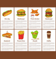 hot dog and hamburger set vector image vector image