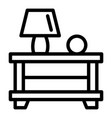 lamp on bedside table icon outline style vector image vector image