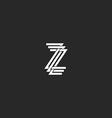 Letter Z logo monogram mockup 3 crossing mark vector image