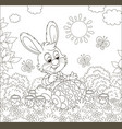 little bunny coloring an easter egg vector image vector image