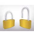 Locked and Unlocked Metal Padlocks vector image vector image