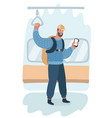 man standing in subway using phone smartphone vector image
