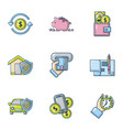 money protection icons set cartoon style vector image vector image
