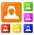 muslim women wearing hijab icons set color vector image vector image