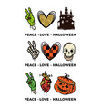 peace love halloween glitter effect is printed vector image