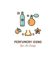 perfumery icons perfume deodorant smelling and vector image