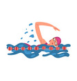 professional sportswoman character swimming in a vector image vector image