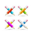 realistic detailed 3d color crossed pencils set vector image