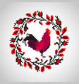 red fire rooster embroidery vector image