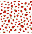 seamles strawberry pattern on white background vector image vector image