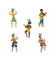 set men dancers and musician with traditional vector image