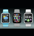 smart watches with app icons and widgets vector image vector image