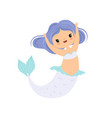 sweet little mermaid with blue hair cute sea vector image