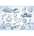 Toys set hand drawings vector image vector image