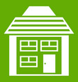 two-storey house with sloping roof icon green vector image vector image