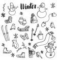 winter doodle set vector image vector image