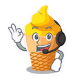 with headphone banana ice cream in cone character vector image vector image