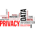 word cloud data privacy vector image vector image